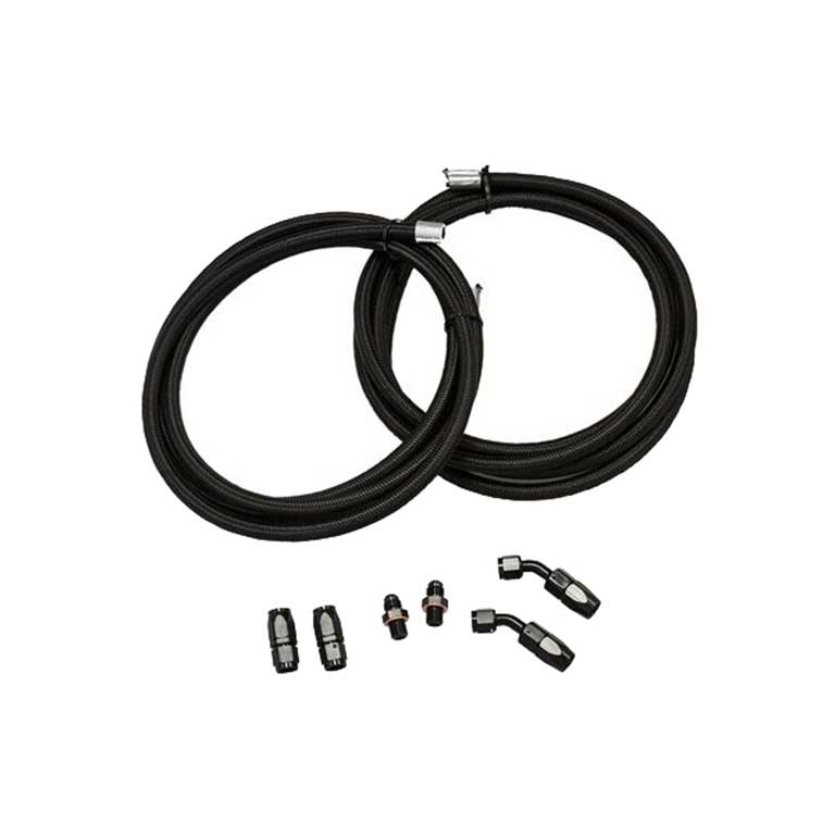 Black Braided Cooler Line Kit with 45 Degree Hose Ends and 1/4 NSP Fittings