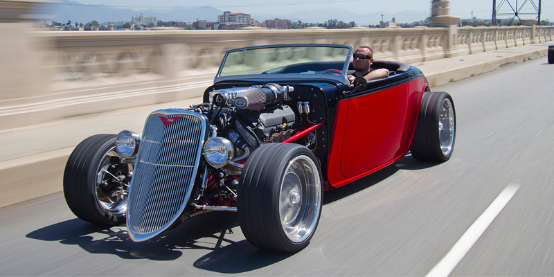 hot rod on the road
